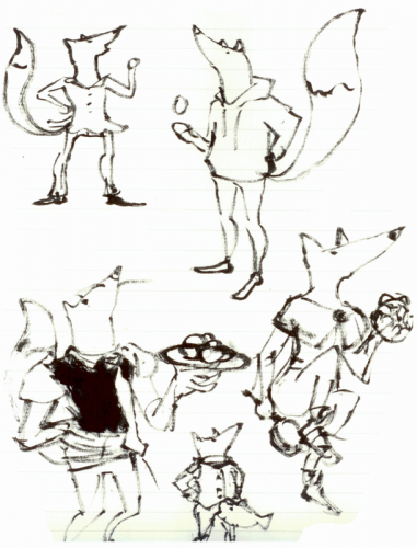 Sketches of the foxes for the cards