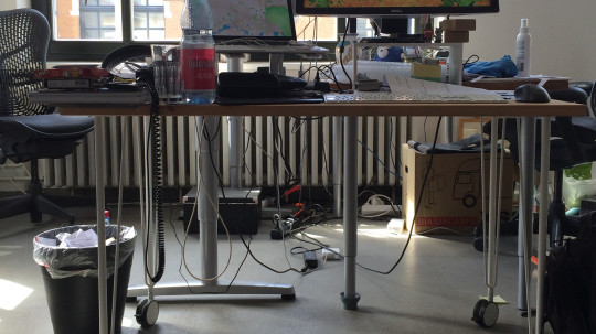 Messy desk at Hubbub Berlin studio
