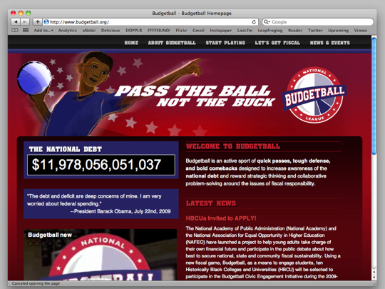 A screenshot of Budget Ball's homepage