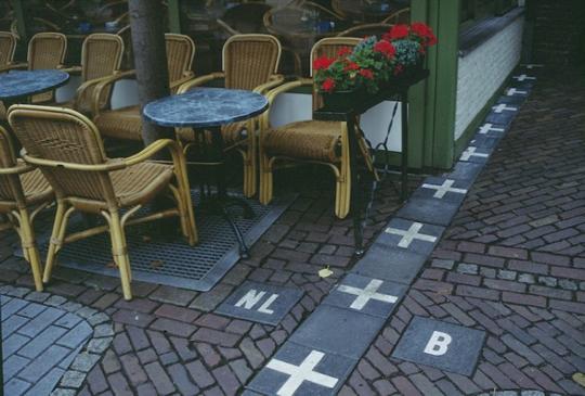 Tiles marking a border in Baarle