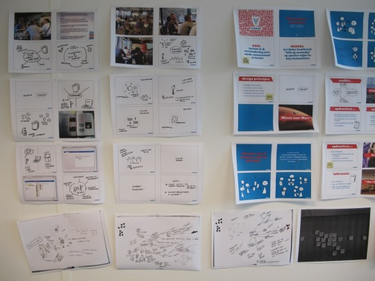 Output of ideation workshops up on the studio wall
