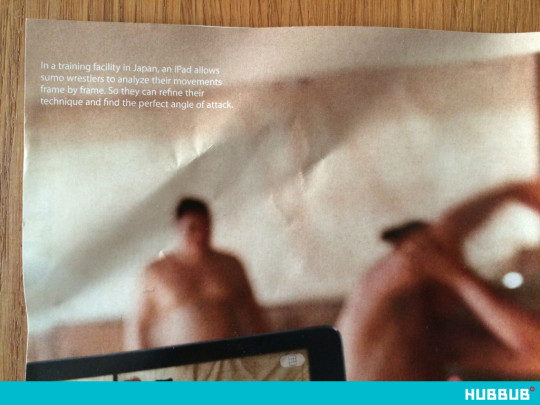 Apple Your Verse sumo wrestlers ad in New Yorker