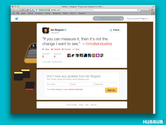 Tweet by Bogost quoting Pedercini at Indiecade East 2014