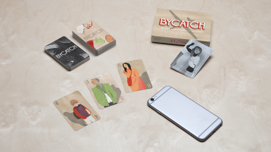 A preview of Bycatch's card artwork and graphic design